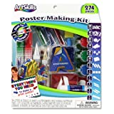 ArtSkills Poster Making Kit, Arts and Crafts Supplies, Includes Washable Poster Markers, Stencil Letters, Poster Letters, Glitter Shakers, Glue, Scissors, 274 Pieces (PA-1276)