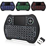Mini Wireless Keyboard with Touchpad Mouse, Wireless Keyboard for Smart TV, Multimedia Remote Keyboard for Android TV Box,Laptop,Xbox 360,PC,PS3-RGB Backlit (Color: RGB Backlit, Tamaño: 146.8*97.5*15mm)