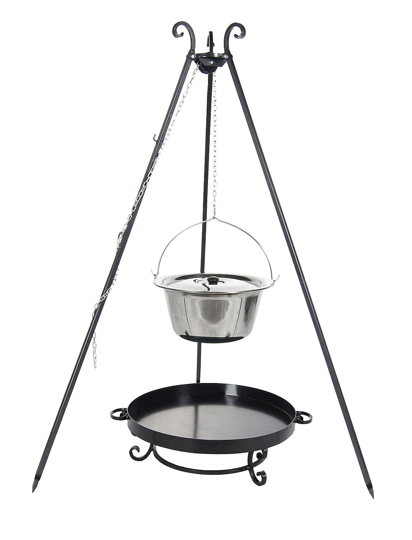 Kingdiscount® Gulaschkessel-Set mit Edelstahlkessel 10 L, Deckel, Feuerschale 60 cm und Dreibein 180 cm günstig bestellen