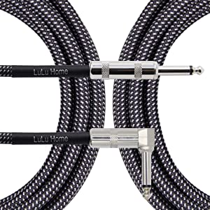 Lulu Home 10 Feet Guitar Cable, Professional Instrument Cable, Straight 1/4 TS to Right Angle 1/4 TS for Electric Guitar, Bass, Pro Audio, Grey-White (Grey) (Color: grey, Tamaño: 10 Feet)