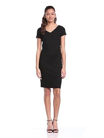 Comma Damen kurzes Kleid, Einfarbig, Gr. 38, Schwarz (9999 black)