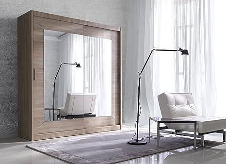 ALFA Modern Wardrobe with Sliding Doors - 4 Colours, 2 Sizes - (Light Sonoma, 180cm/215cm/60cm)