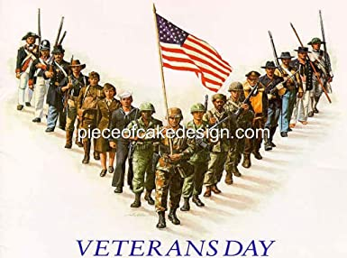 1/4 Sheet ~ Veteran's Day Military Group Birthday ~ Edible Image Cake/Cupcake Topper!!!
