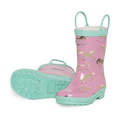 Hatley Running Horses Girls Wellies, Wellingtons, Girls, Pink