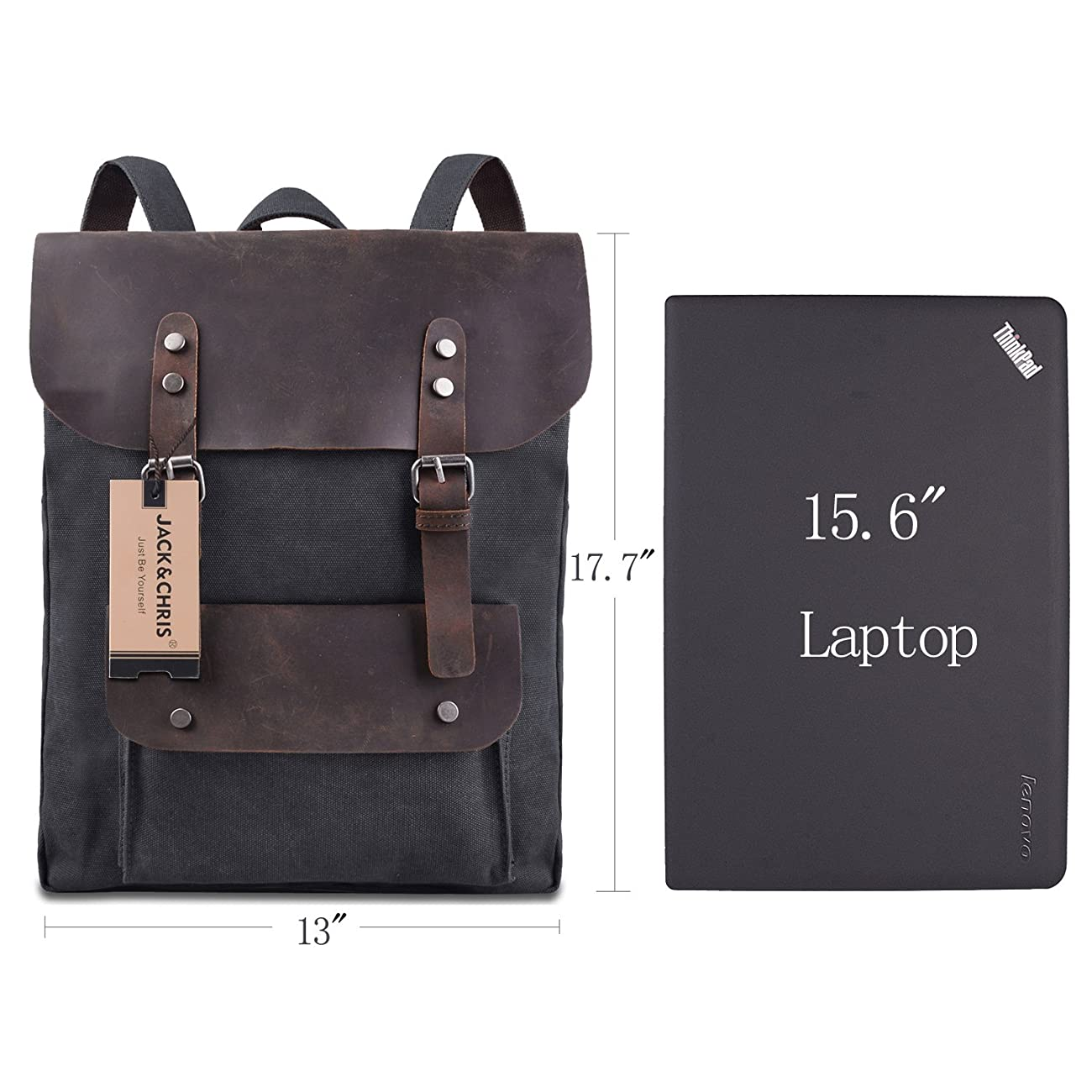 Jack&Chris Vintage Canvas Leather School Backpack Rucksack Bag Daypack,MC2166 6