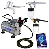 Master Airbrush 3 Airbrush Professional Multi-Purpose Airbrushing System Kit - G22, S68, E91 Gravity & Siphon Feed Airbrushes, Hose, Air Compressor, Airbrush Holder - How-to-Airbrush Guide Booklet (Tamaño: Deluxe 3 Airbrush Kit)