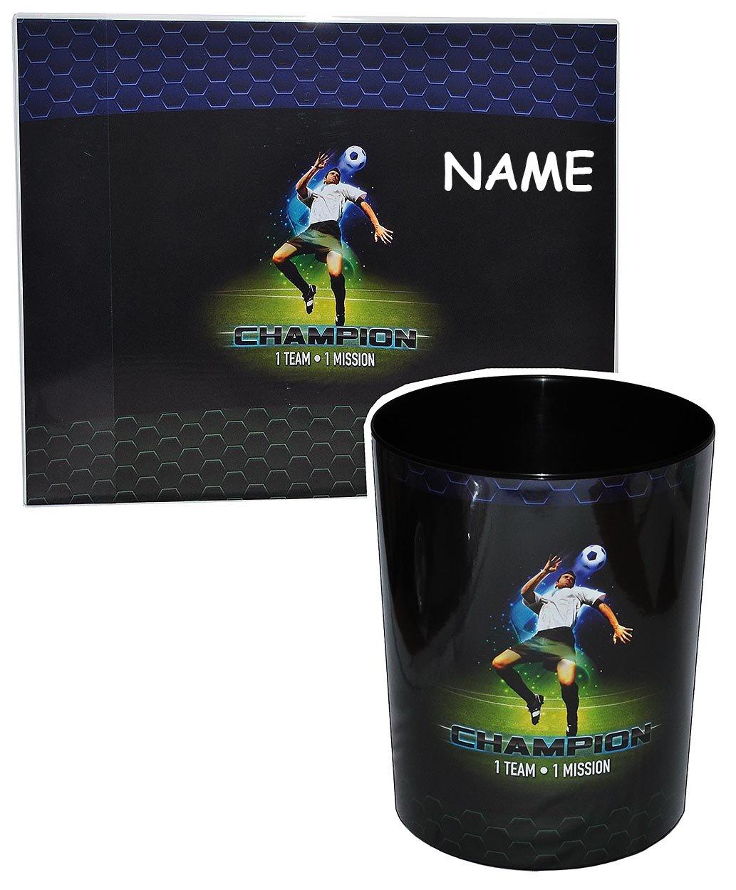 2 tlg. Set: Schreibtischunterlage + Papierkorb Fussball – incl. Namen – Unterlage / Knetunterlage / Tischunterlage für Jungen Kinder Fußball Champion Sport online bestellen