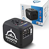 International Travel Adapter - Smart Plug Socket Converter for Europe, Asia, Africa, America - World Travel Adapter with USB, Type-C Wall Outlet Charger - Plug and Lock, Safety Surge Protection (Color: Black, Tamaño: 3USB+Type-C)