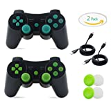 PS3 Controller, 2 Pack Wireless Bluetooth Gamepad Double Vibration Six-Axis Remote Joystick for Playstation 3 with Charging Cord (Green + Blue) (Color: 2 Pack)