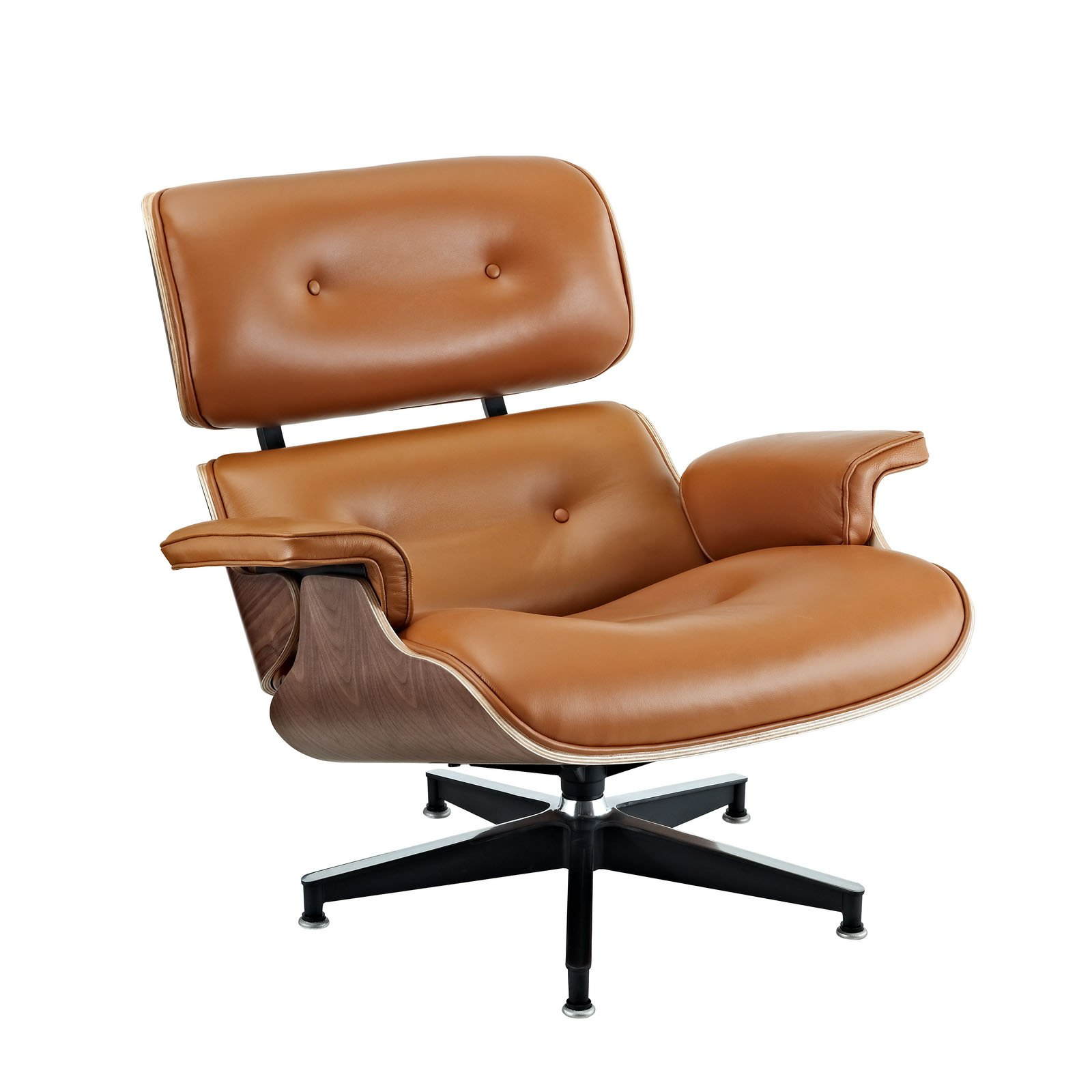 Tan leather office chair - Lexmod Eaze Lounge Chair In Terracotta Leather And Dark Walnut Wood