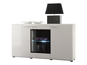 Furnline Face High Gloss Living Room Cabinet Sideboard, White