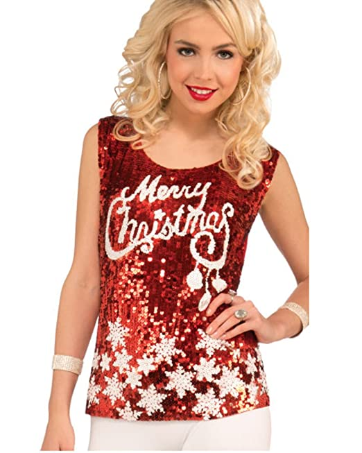 Womens Racy Red Merry Christmas Snowflake Haut Top Sequin Shirt