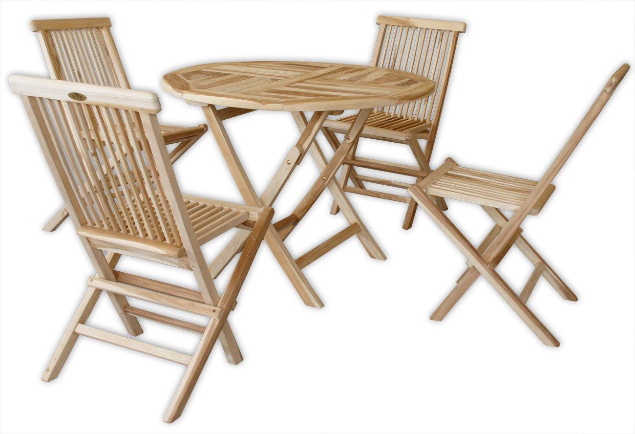 KMH®, Gartensitzgruppe mit praktischem Klapptisch (Ø 120cm) für 4 Personen (ECHT TEAK) (#102211)