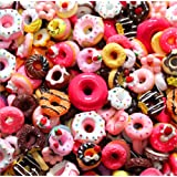 30 Pack Cute Candy Slime Beads Fruit Dessert Ice Cream Resin Charms Slices Flatback Buttons for Handcraft Accessories Scrapbooking Phone Case Decor (Donut) (Color: Donut, Tamaño: 10mm-25mm/0.39inch-1inch)