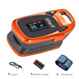 ULAIF Fingertip Pulse Oximeter with OLED Display Portable Oximetry Blood Oxygen Saturation Monitor SpO2 Finger Pulse Oximeter Readings with Carrying Case Lanyard and Batteries FDA Cleared (Color: Orange)