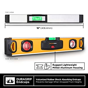MOTORHEAD 16-Inch 0°, 45° & 90° Degree LED Torpedo Level, Water, Dust & Shock Resistant, Magnetic Bottom, Includes Bag, High-Visibility, Solid Milled Aluminum, USA-Based Support (Color: Smart LED Level, Tamaño: 16)