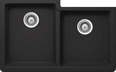 SCHOCK ALIN175YU010 ALIVE Series CRISTALITE 60/40 Undermount Double Bowl Kitchen Sink, Onyx