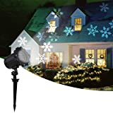 2019 New Moving Snowflake lights, White Christmas Projector Lights LED Landscape Projection, Indoor & Outdoor Spotlights Decor Stage Irradiation & Garden Tree Wall, Perfect Halloween Holiday Party (Color: Black)