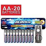ACDelco AA Super Alkaline Batteries, 20 Count and Bonus LED Keychain (Tamaño: 20-Count)