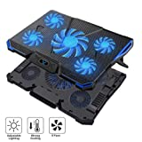 Wsky Laptop Cooler, Ultra Slim 12''-18'' inch Laptop Cooling Pad with 5 Quiet Fans and Blue LED Light, Dual 2 USB 2.0 Ports, Adjustable Mount Stand Height Angle (Color: Black+Blue, Tamaño: Large)