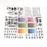 Clear Stamps Set 6 Sheets Different Style Silicone Stamps and 6 Pieces Colorful Gradient Ink Pads and 3 Pieces Stamp Blocks for Scrapbooking Crafts Making (Color: 04)