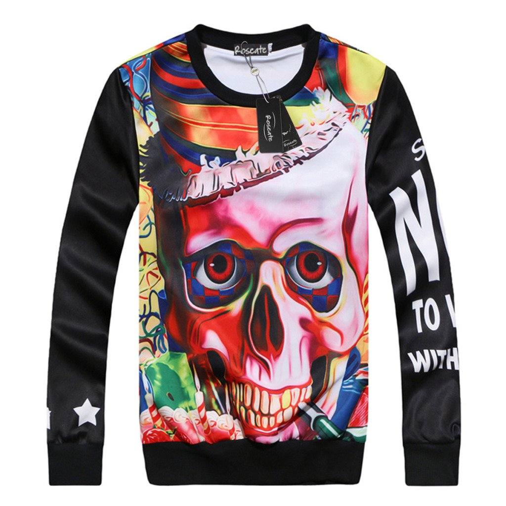 Men's Casual Crewneck Hip Hop Sweatshirt Skull