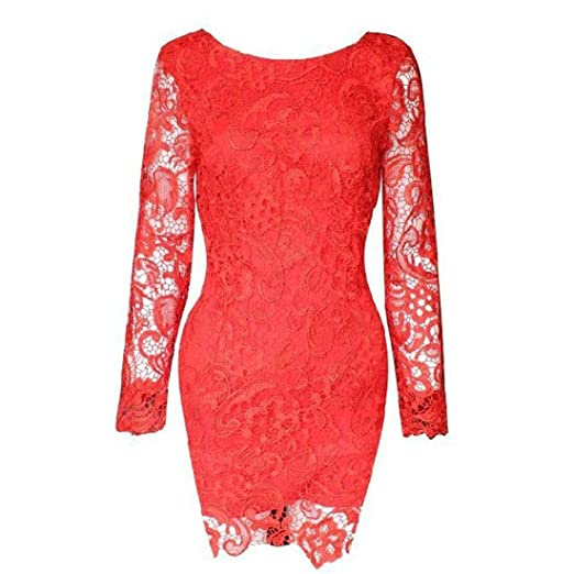 TOOPOOT(TM) Sexy Women Lace Backless Clubwear Evening Party Bodycon Mini Dress