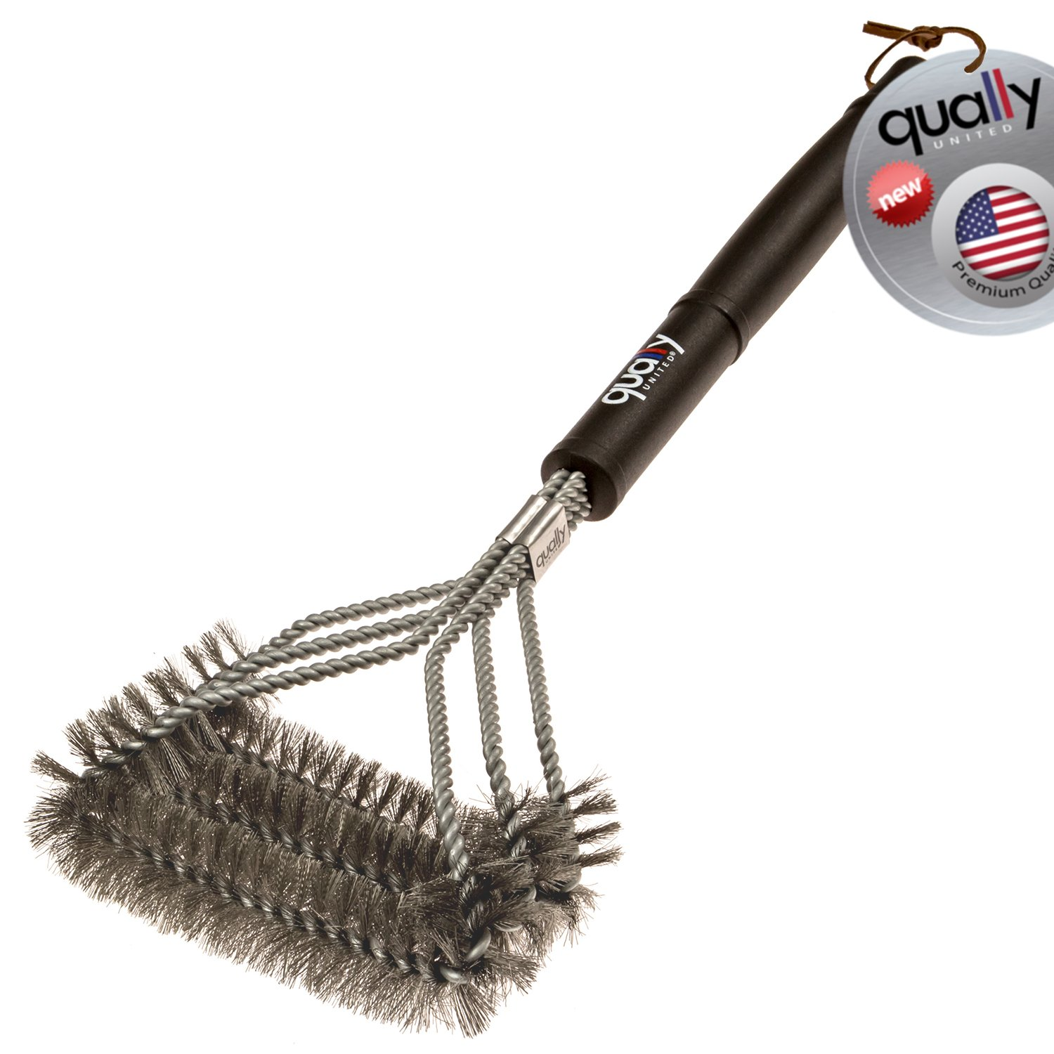 "Qually United® - the Best 2016 Edition 17"" BBQ Grill Brush with 3 Stainless Steel Brushes in 1 - Universal and Perfectly Angled this Barbecue Grill Brush is a Must Have Tool for All Barbecue Lovers"