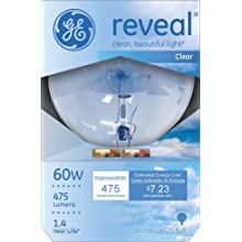 GE Lighting 42360 60-Watt G25 Reveal Globe, Clear