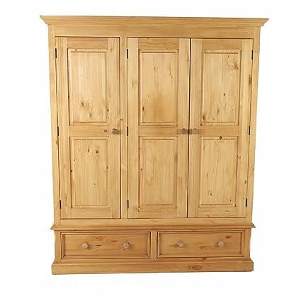 Armoire en pin massif 3 portes + 2 tiroirs Pays-Armoire en pin massif 3 portes + 2 tiroirs Pays