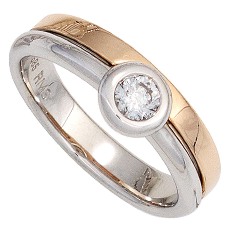 Damen Ring 585 Bicolor Weißgold Rotgold kombiniert 1 Diamant Brillant günstig bestellen