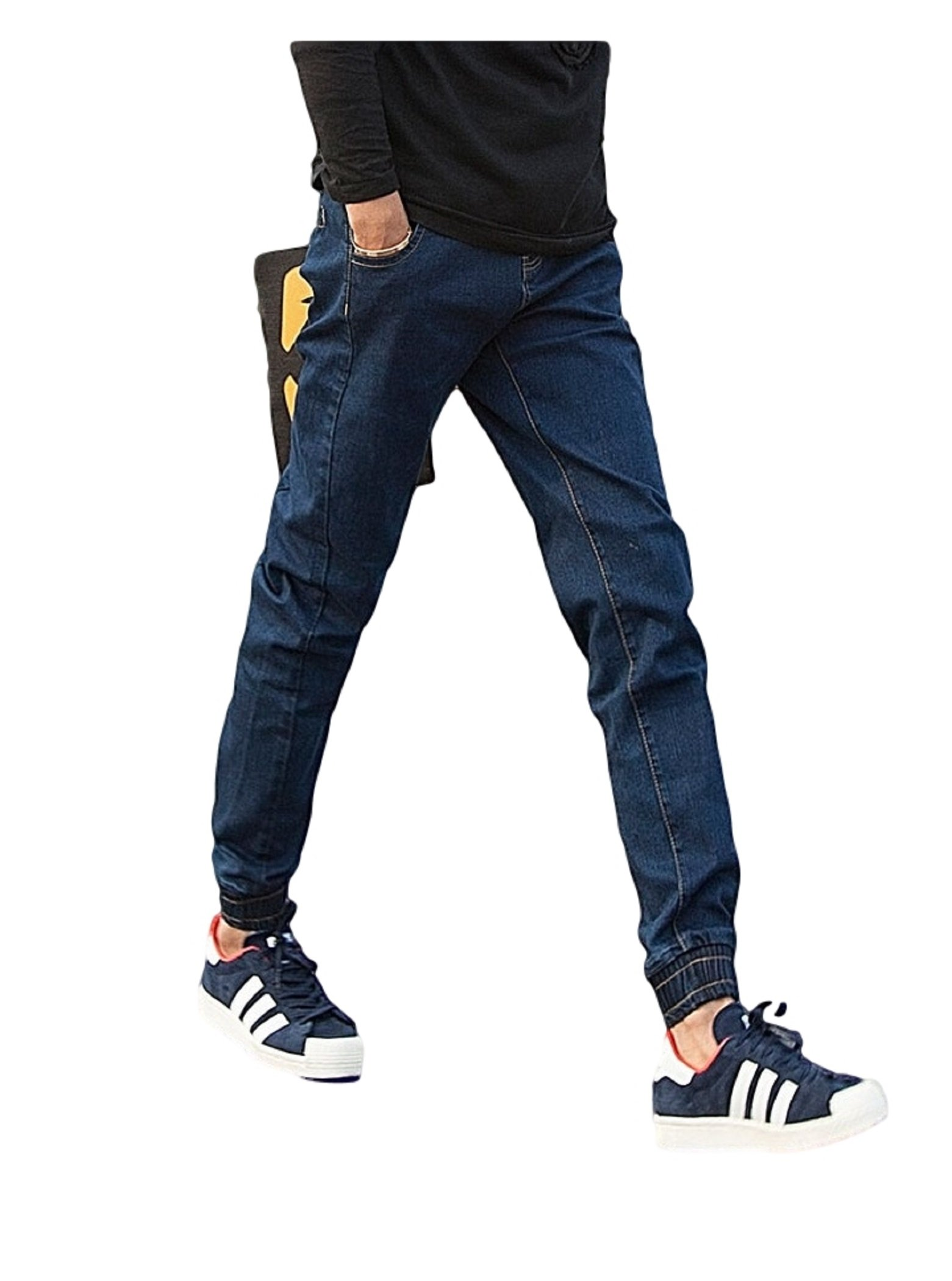 JOKER メンズ パンツ ジーンズ テーパード デニム ストリート スリム カジュアル 通学 通勤 デート 学校 トラベル 旅行 仕事 デート ショッピング  オリジナルブレスレット付 SB02328