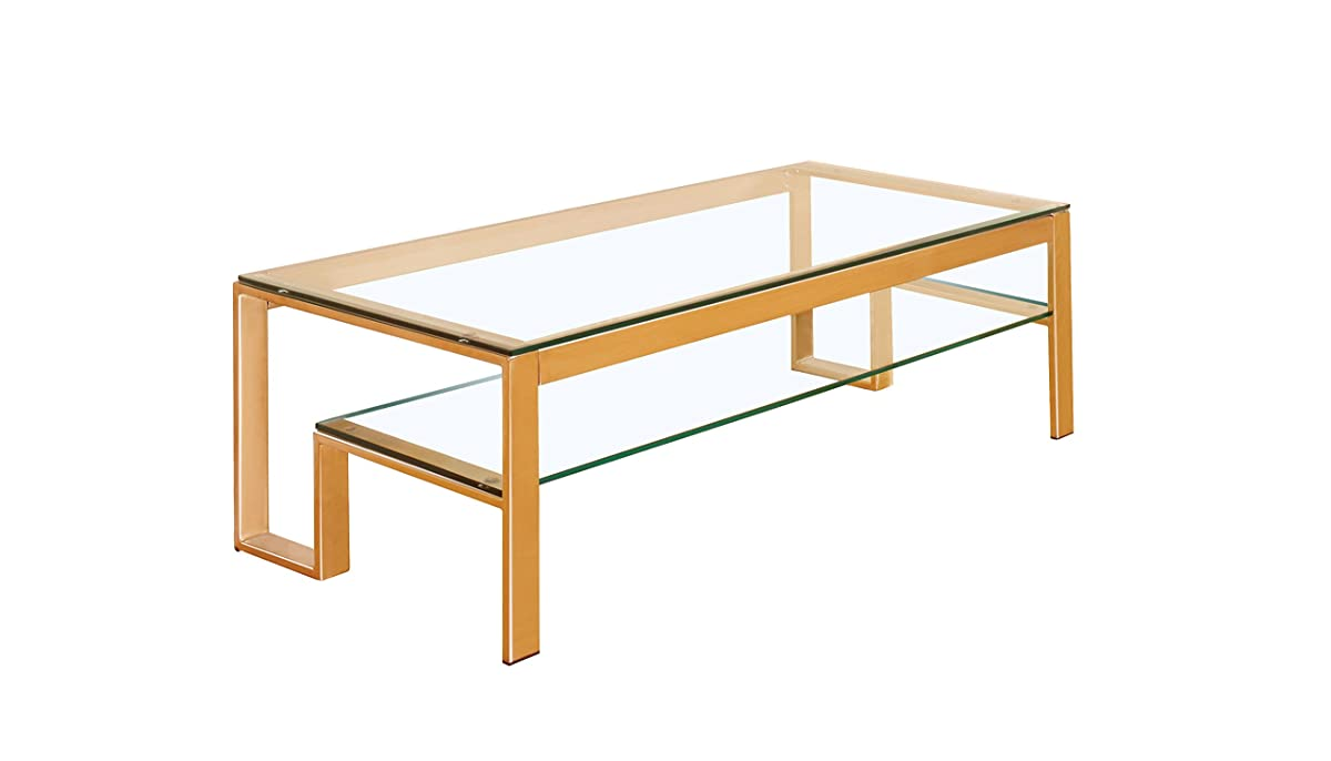 HOMES: Inside + Out IDF-4163GL-C Davina Champagne Dual Glass Shelf Coffee Table