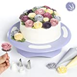 LAVANDIN Cake Turntable by Rotating Cake Stand - Cake Decorating Supplies Exclusive Online Cake Decorating Video Tutorials - Complete with Flower-Making Kit