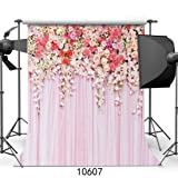 SJOLOON 10x10ft Rose Floral Wall Newborns Portraits Photography Backdrop Art Fabric studio pink flowers wall photo backdrop 10607 (Color: 10607 10x10FT, Tamaño: 10X10FT)
