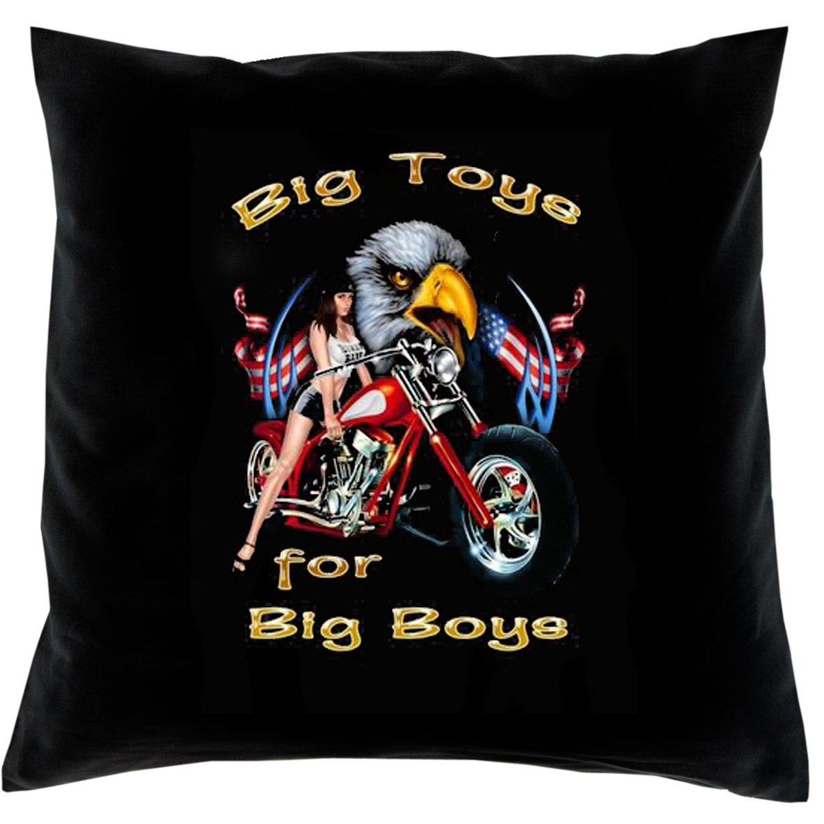Kissen mit Innenkissen – Big toys for big boys! – mit 40 x 40 cm – in schwarz : ) günstig