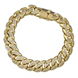Iced Out Gold Plated Miami Cuban Link Hip Hop Bracelet (15mm)