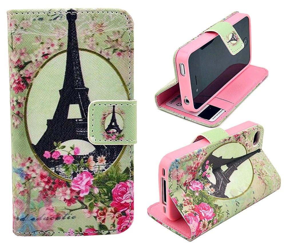 iphone 5 Case,iphone 5S Case, Welity Flower with Eiffel Tower Retro Vintage Luxury Wallet PU Leather Case Stand Cover for Apple iPhone 5/5S/5G and one gift