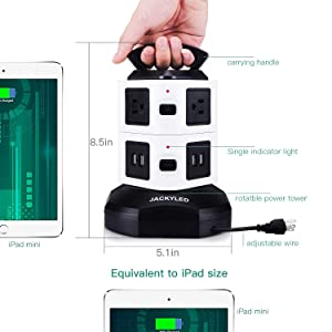 Power Strip Tower-JACKYLED Surge Protector Electric Charging Station 3000W 13A 16AWG 6 Outlet Plugs with 4 USB Slot 6ft Cord Wire Extension Universal Charging Station Office (Color: Black and White, Tamaño: 6OutletPlugswith4USB)