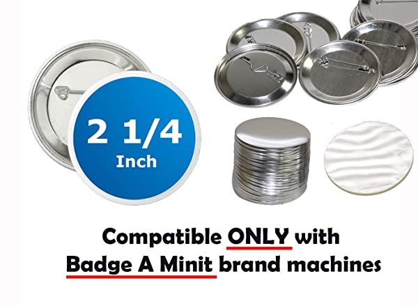 250 Pck - 2.25 inch ONLY for BAM Machines Pin Buttons - Generic Compatible with Badge A Minit 2 1/4 (57 mm) (Tamaño: 2.25 inch / 57 mm (2' 3/8 inch using micrometer))