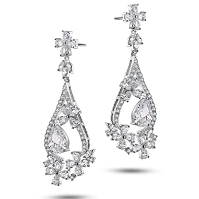 Caperci Sterling Silver Flower and Teardrop Cubic Zirconia Floral Dangle Earrings for Women