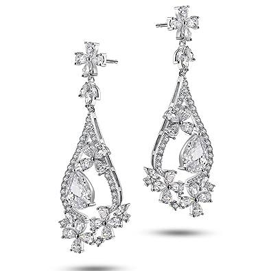 Caperci Sterling Silver Flower and Teardrop Cubic Zirconia Floral Dangle Earrings for Women