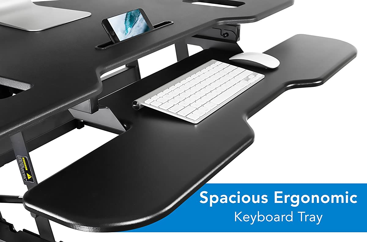 "Mount-It! Corner Standing Desk Converter, 48"" Wide Adjustable Height Tabletop Sit Stand up Desk for Cubicles, Removable Spacious Keyboard Tray Platform"