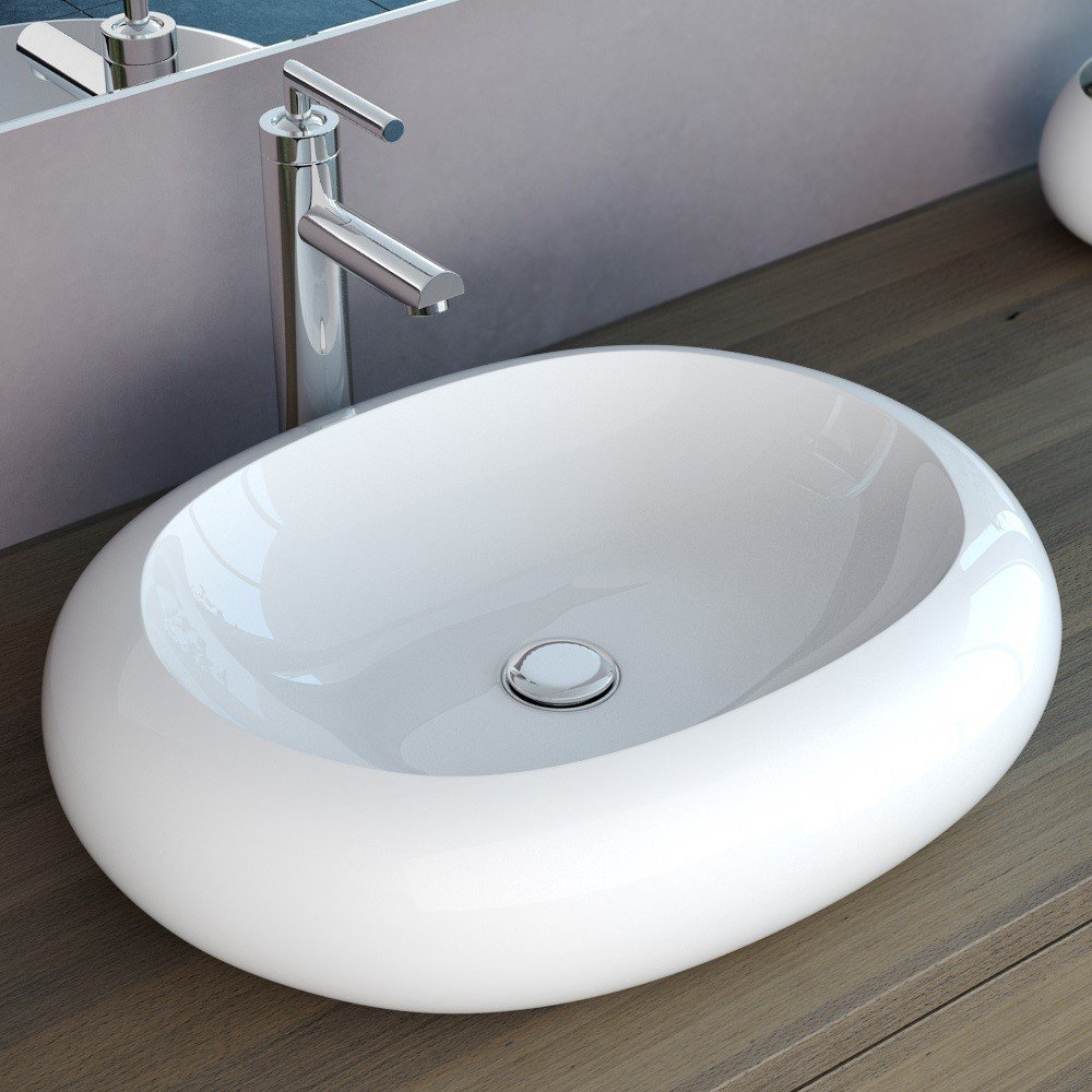 NEG Design AufsatzWaschbecken Uno26A, 56x46x13cm (BxTxH), Waschschale mit ovalem Rand und NanoBeschichtung (LotusEffekt)  BaumarktKundenbewertung und Beschreibung
