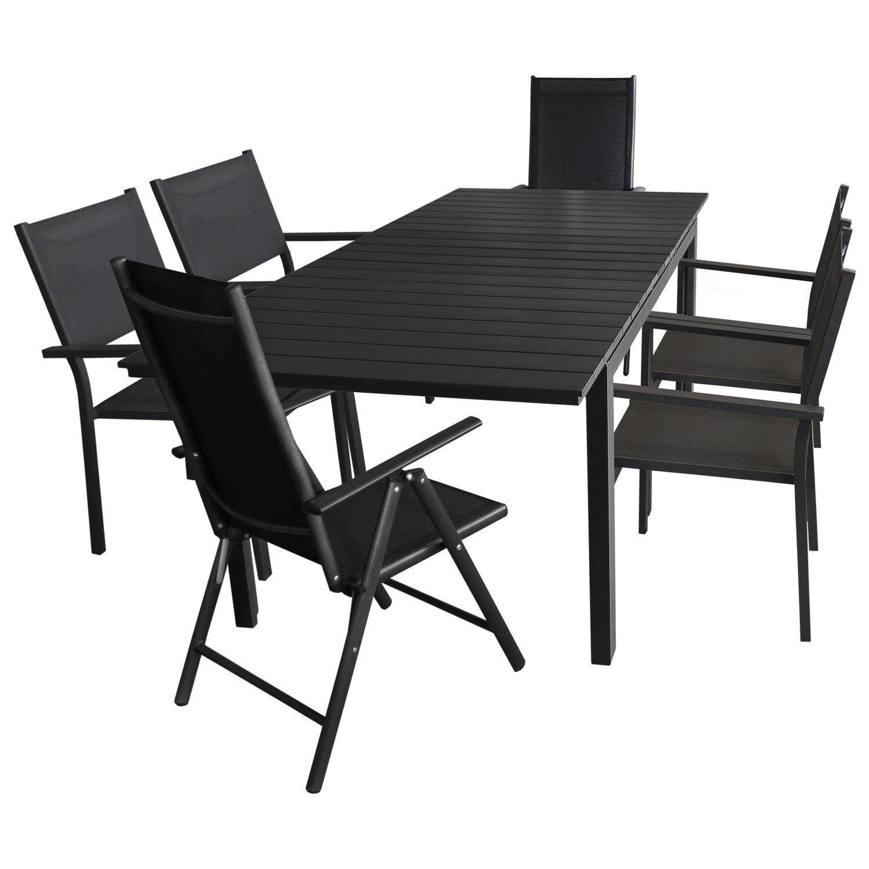 7tlg. Gartengarnitur – Aluminium Ausziehtisch, 160/210x95cm, Polywood Tischplatte + 4x Stapelstuhl + 2x Hochlehner, 7-fach verstellbar, Schwarz – Gartenmöbel Terrassenmöbel Sitzgruppe Sitzgarnitur günstig kaufen