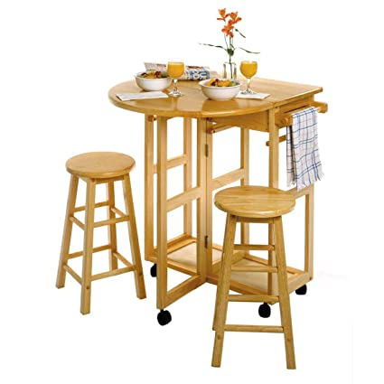 Winsome 89332 Space Saver Drop Leaf Breakfast Bar With Stools-natural