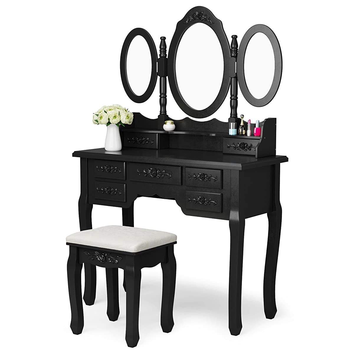 Tribesigns Wood Makeup Vanity Table Set with 3 Mirror & Stool Bedroom Dressing Table Makeup Desk, Black
