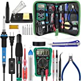 Soldering Iron - Soldering Kit, 19-in-1 60w Soldering Iron Kit Electronics Adjustable Temperature Welding Iron with ON/OFF Switch, Digital Multimeter, 5 Tips, Desoldering Pump, Screwdriver, Tweezers (Color: WI)