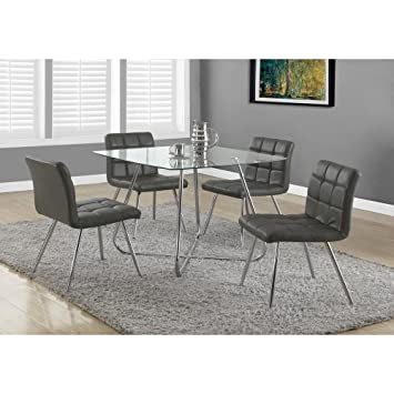 """GREY LEATHER-LOOK / CHROME METAL 32""""H DINING CHAIR / 2PCS (SIZE: 19L X 23W X 32H)"""