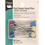 Dritz 68 Flat Head Pins, Flower, 2-Inch (50-Count) (Color: Assorted, Tamaño: 2-Inch)